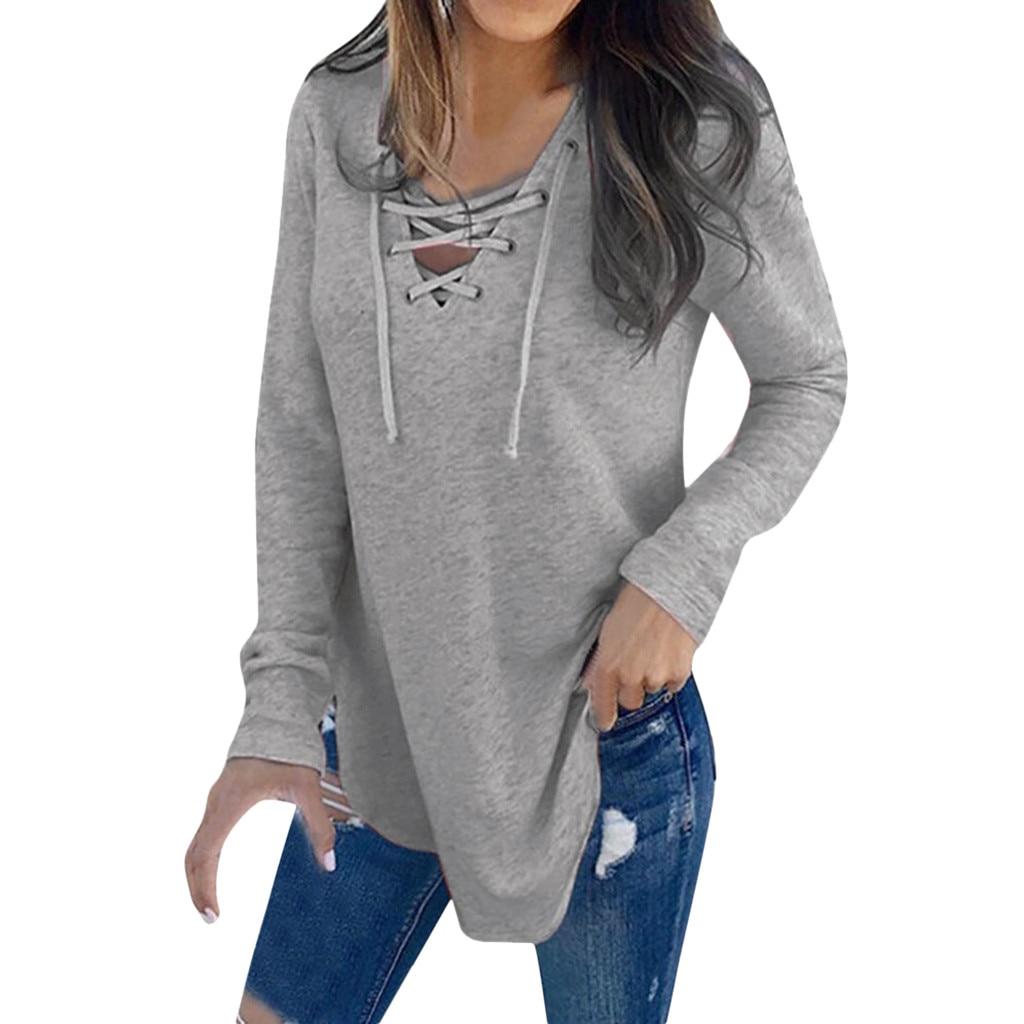 #Z20 White Bandage T Shirt Women V Neck Drawstring Long Sleeve T-Shirt Tops Spring Autumn Female T-Shirt Solid Color Casual Tops
