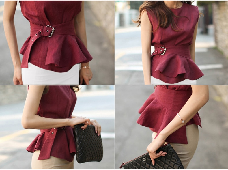 2020 High Quality Summer Women Fashion Shirts O-neck Sleeveless Belted Blouse Elegant cotton Linen Tops Femme Chemise Blusas