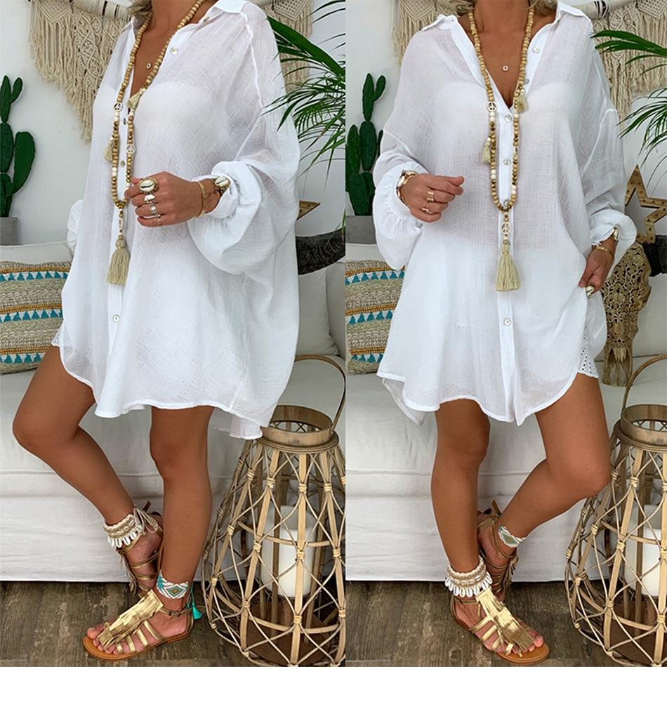 Cotton Linen Women's Shirt 5XL Plus Size Long Sleeve Turn Down Collar Blouse Women Beach Style Women Autumn Clothes Top Chic