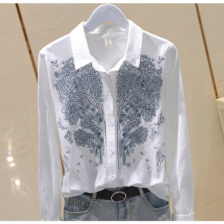2021 Office Blue Print Cotton Linen Casual Feminina Top Shirts Summer Women Tops and Blouses Spring Plus Size Long Sleeve Blouse