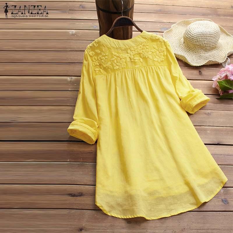 2021 ZANZEA Cotton Linen Tops Women Blouse Elegant V Neck Long Sleeve Shirt Casual Autumn Lace Shirts Vintage Embroidery Blusas