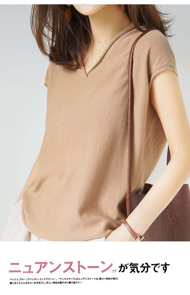 Europe and the United States popular spring and summer cotton and linen knit short-sleeved t-shirt female loose V-neck  pullover