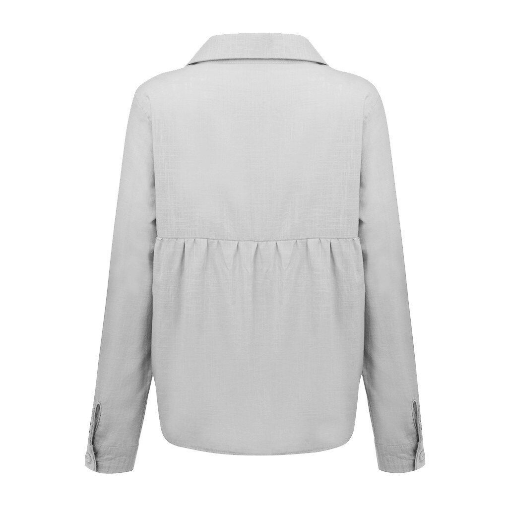 Plus Size Fashion Linen Button Bottom Blouse Casual Autumn Winter Lady Loose Tops Female Women Long Sleeve Shirt Blusas Pullover