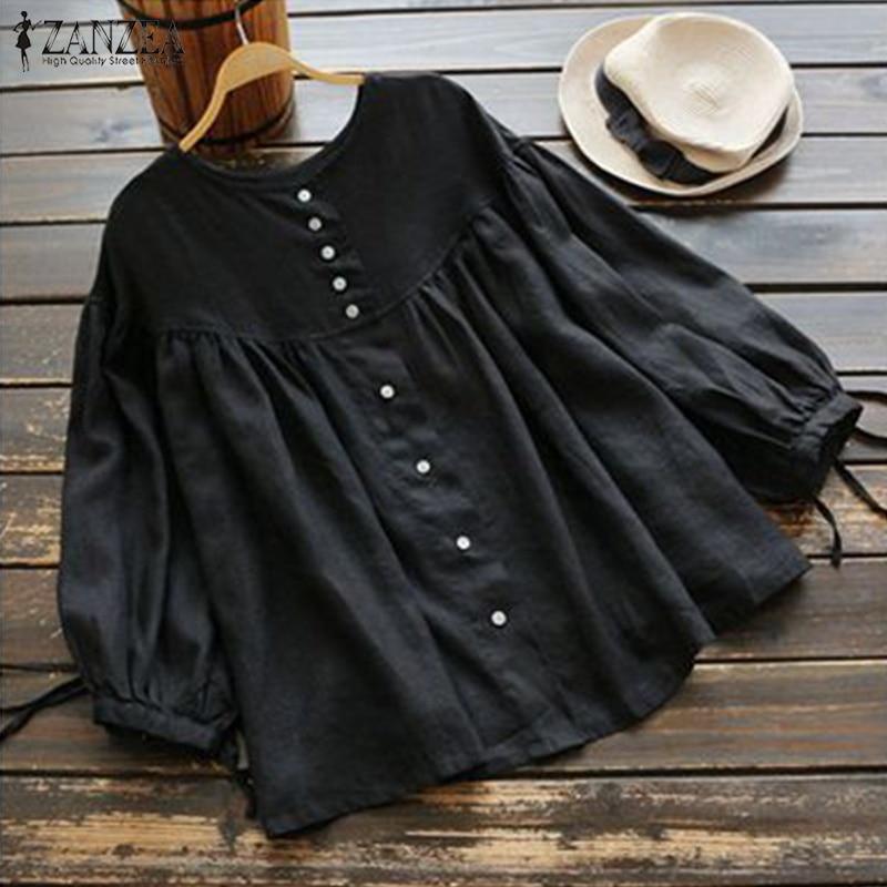 Fashion Ruffle Blouse Summer Women's Tunic 2021 ZANZEA Vintage Casual Linen Tops Female 3/4 Lantern Sleeve Blusas Pleated Shirts