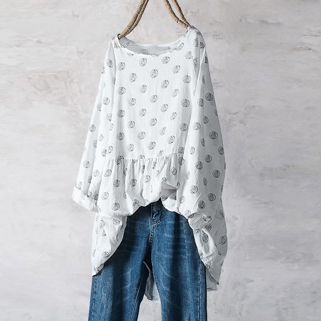 Plus Size Blouse Tops Long Sleeve Tunic Shirt O-Neck Women Blouses Polka Dot Chiffon Blouse Big Size blusas bluzki damskie