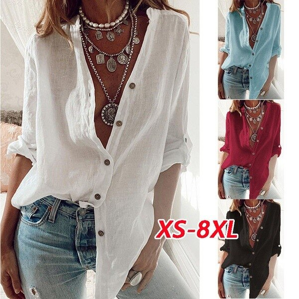 S-5XL Plus Size Autumn Fashion New Women Shirts White Casual Loose Tops Solid Color Cotton Rollable Sleeve V-neck Blouses Blusas