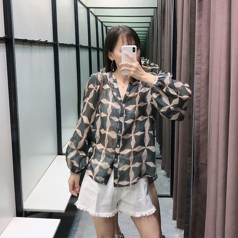 za blouse women Summer thin shirt women's perspective cotton linen printed shirts long sleeve round neck female tops  XW1213