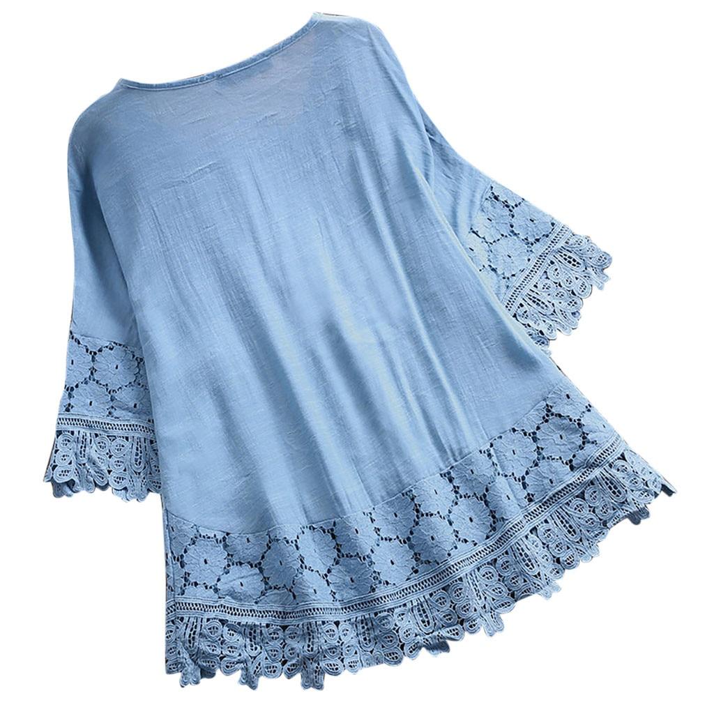 Women Vintage Lace Patchwork Bow V-Neck Three Quarter Blouses Top blue pink elegant summer shirts female blouse dentelle femme