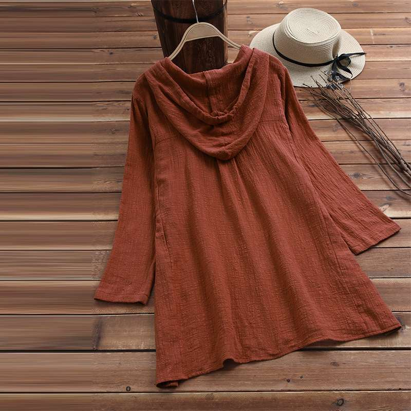 2021 Women Spring Hoodies Long Sleeve Buttons Down Shirt Solid Cotton Linen Blouse Female Casual Loose Work Top Femininas Blusas