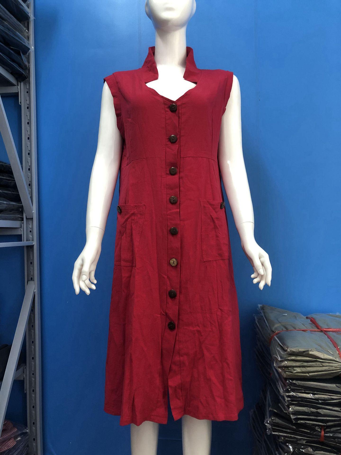 Plus Size Women's Summer Sundress  2021 Fashion Solid Shirt Dress Sleeveless Lapel Button Midi Vestidos Female Button Robe