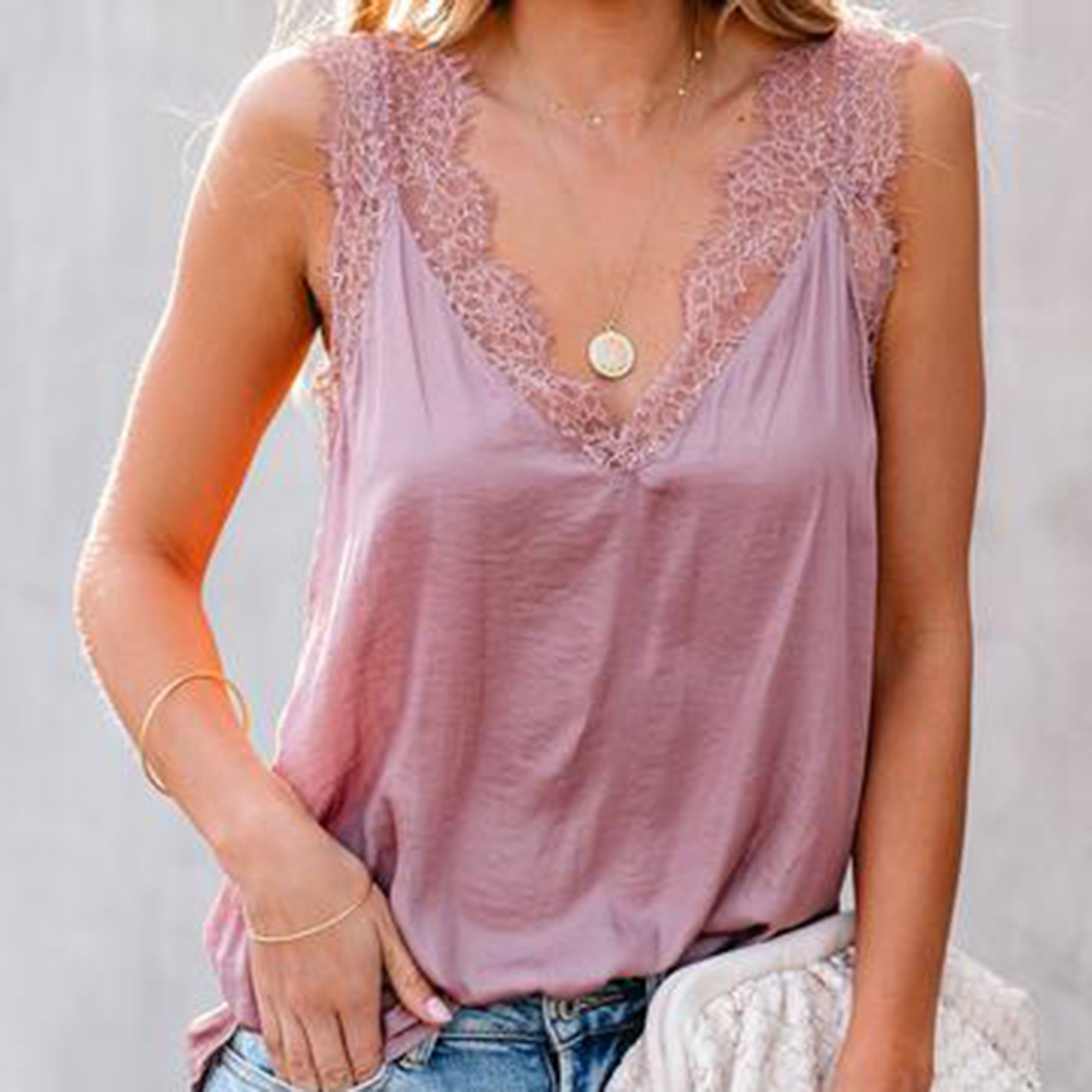 40# Lace Elegant T-shirts Women's White Splicing V-neck Plus Size Tee Tops Casual Sleeveless Summer T-shirts Блузка Женская