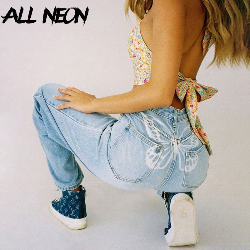 ALLNeon 90s Aesthetics Butterfly Print Baggy Jeans Y2K Vintage High Waist Denim Wide-Leg Trousers Streetwear Casual Outfits 2020