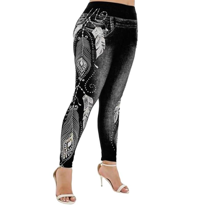 Womens Leggings Imitation Jeans Floral Printing Elastic Waist Pencil Pants Jeggings Plus Size Legging Ladies Sweatpants Trousers