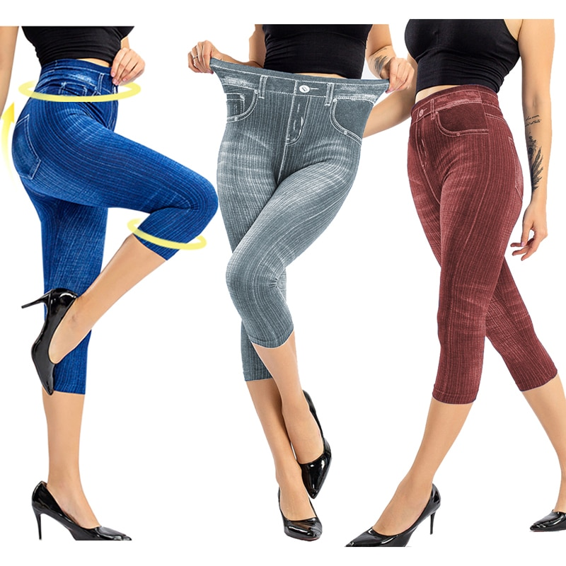 Women Denim Print Leggings Fashion Slim Leggings Faux Jeans Leggings  Stretch Printed Short Leggins Pants Summer Breeches
