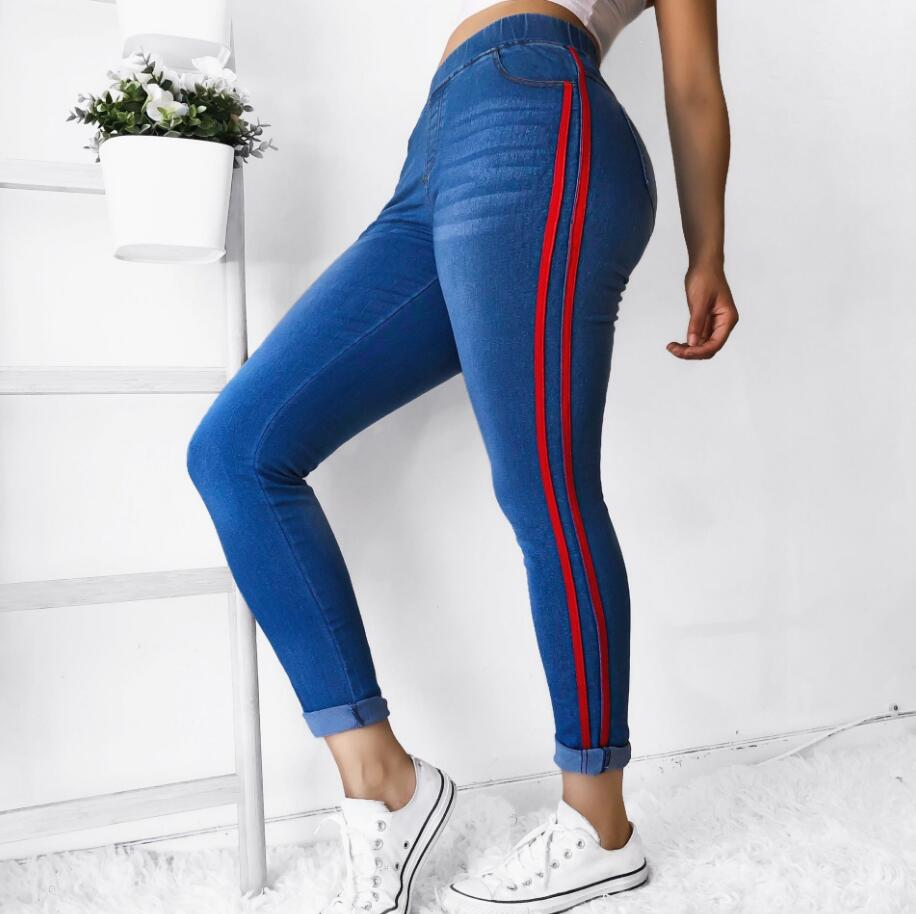 2020 New Striped Jeans Women's Plus Size S-5XL  Elasticity Waist Pencil Pants Trousers Red Stripes Small Stretch Jeans Hot