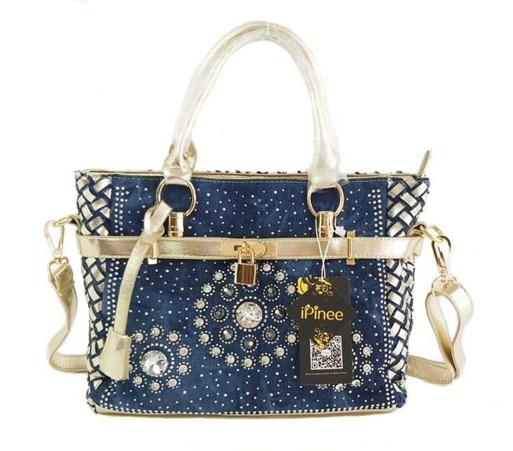 iPinee Summer 2020 Fashion womens handbag large oxford shoulder bags patchwork jean style and crystal decoration blue bag