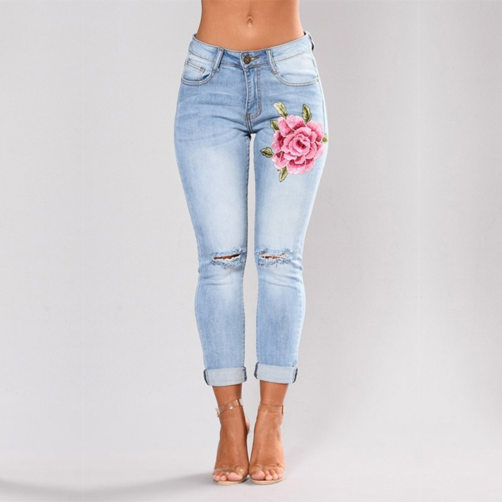 Stretch Embroidered Jeans For Women Elastic Flower Jeans Female Slim Denim Pants Hole Ripped Rose Pattern  Women  Pencil Pants