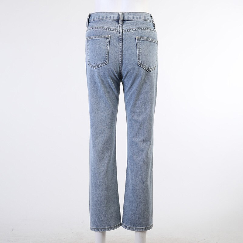Vintage High Waist Denim Jeans Woman Inclined Belt Light Blue Straight Leg Pants Female Streetwear Chic Y2k Jeans for Woman Mom