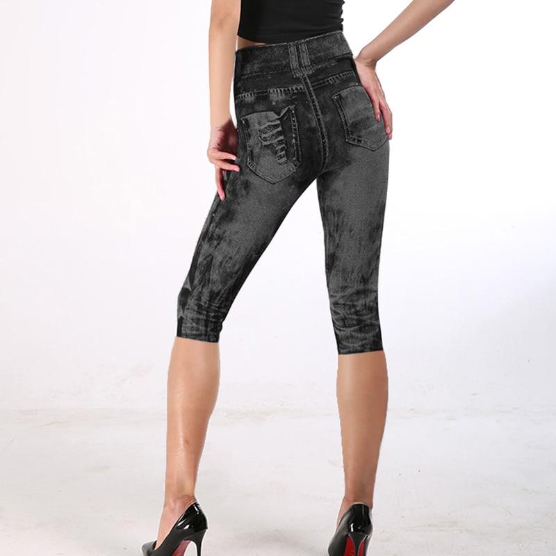 Short Leggings Pants Women High Waist Summer Sport Leggings Ladies Casual Gym Faux Jeans Push Up Workout Legging Trousers