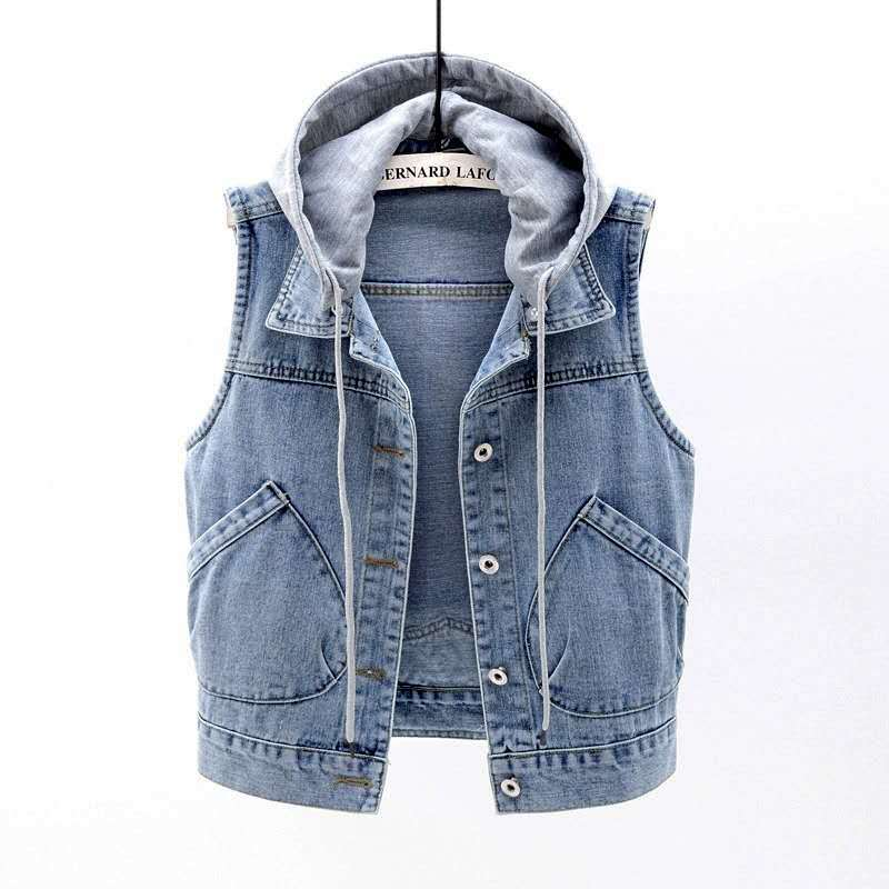 2020 New Denim Vest Waistcoat Women Plus size Loose Wild Jeans Coats Woman Hooded Short Vest Tops Jacket Female Korean Slim Vest