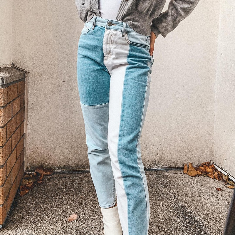 Y2K Patchwork Straight Mom Jeans Women Vintage Casual Baggy High Waist Female Casual Harajuku Denim Streetwear Pants  Iamhotty