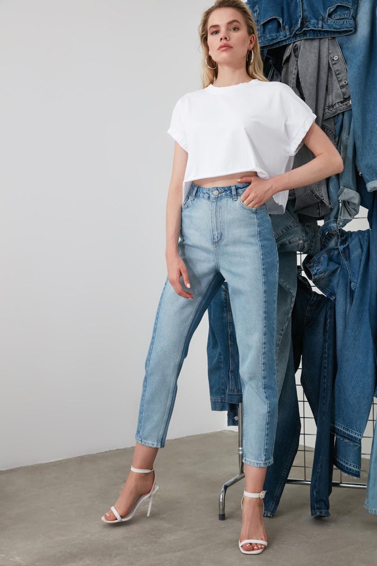 Trendyol Blocky High Bel Mom Jeans TWOSS20JE0080 Jeans Trousers Casual Denim Outerwear Blue Streetwear Vintage Women Fashion Jeans 2021