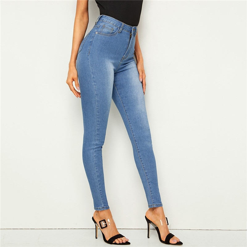 SHEIN Bleach Wash Pocket Stretchy Skinny Jeans Woman Casual Denim High Waist Jeans Button and Zipper Fly Blue Ladies Jeans