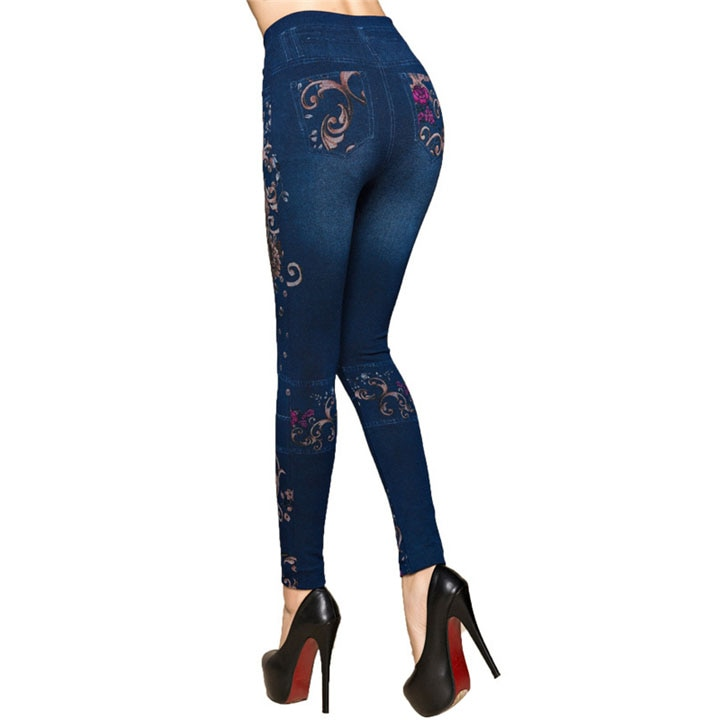 Women Flowers Printed Jeans Leggings Autumn Slim Cotton High Waist Jeggings Ladies Fake Jeans Trousers Leggings Legency