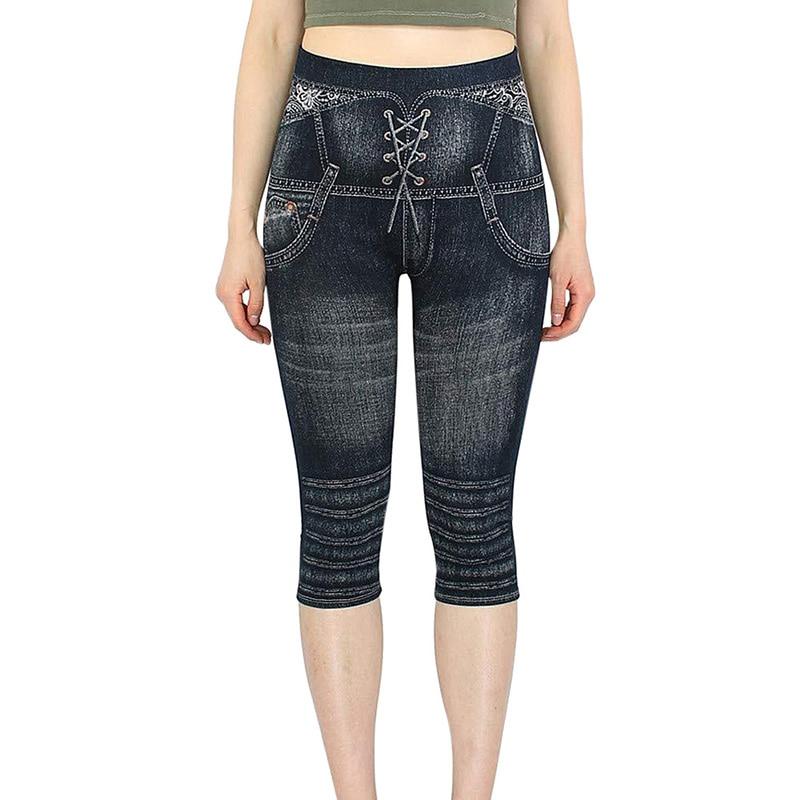 3/4 Leggings Women Breeches Elastic Slim Jeans Leggings High Waist Capri Pants Jeggings Female Short Leggings