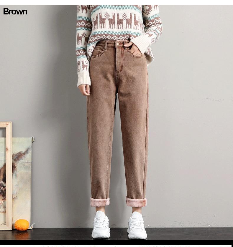 Winter Jeans for Women Velvet Thick Warm Denim Pants High Waist Fleece Mom Jeans Vintage Wide Leg Ankle-Length Harem Denim Pants