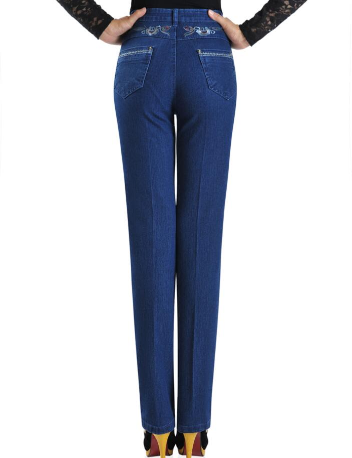 Middle-aged women's high waist elastic straight denim pants large size elegant mother casual jeans trousers r1321