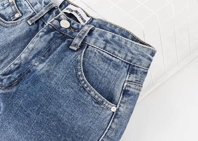 Vintage High Waist Jeans American Retro Light Blue High Waist Loose Straight Wide Leg Pants Slim Denim Pants Trousers Women 807G
