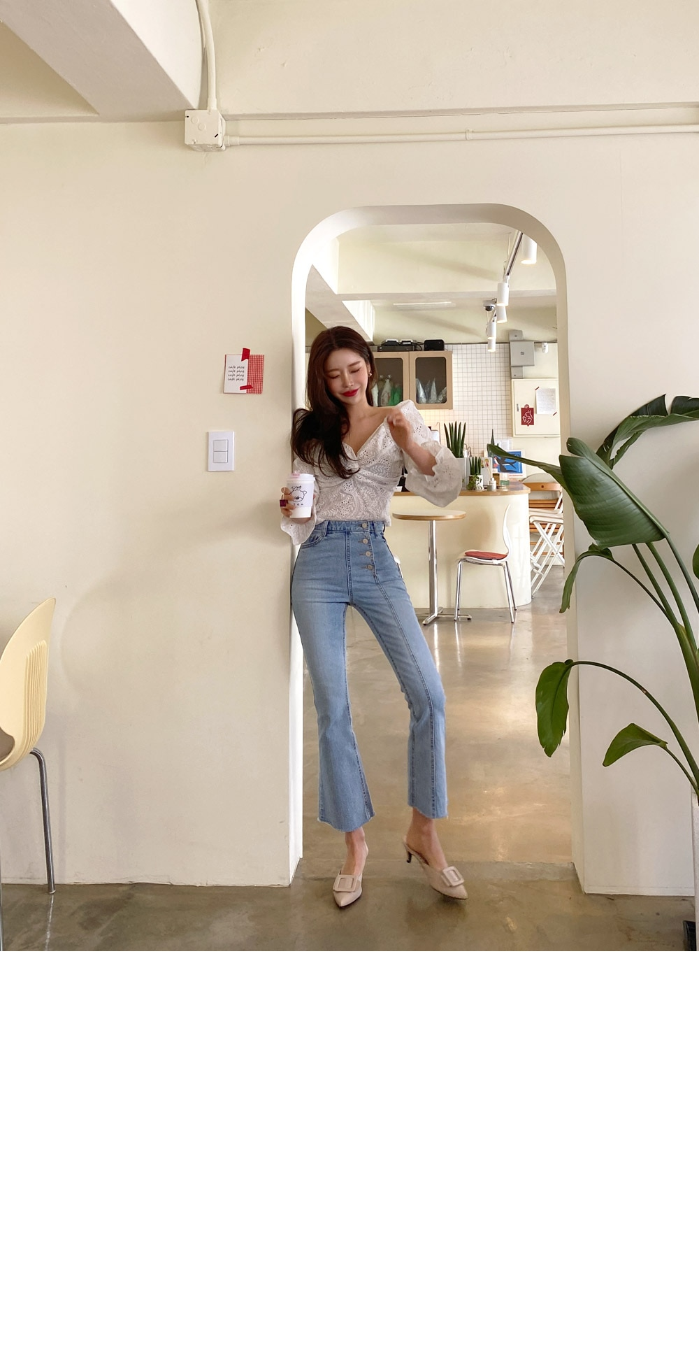 New 2020 High Waist Elegant Comfortable Jeans For Women Single Button Fashionable Casual Denim Pants Jeans Washed Flare Jeans