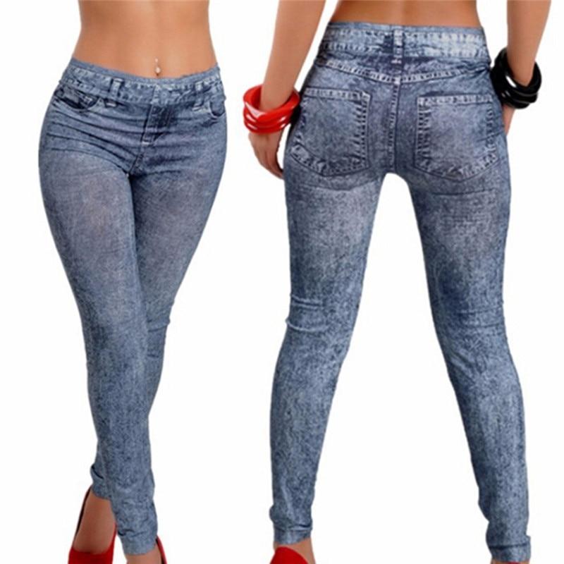 1PCS Women Fitness Blue Black Leggins Women Leggings Denim Jeans Pants With Pocket Slim Leggings