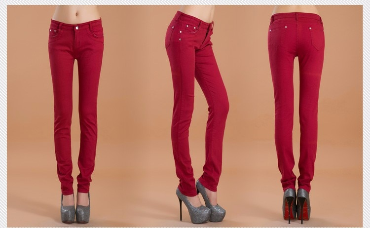 Summer Women Pencil Jeans Candy Colored Mid Waist Full Length Zipper Slim Fit Skinny Ladies Pants Hot Fashion Female Trousres