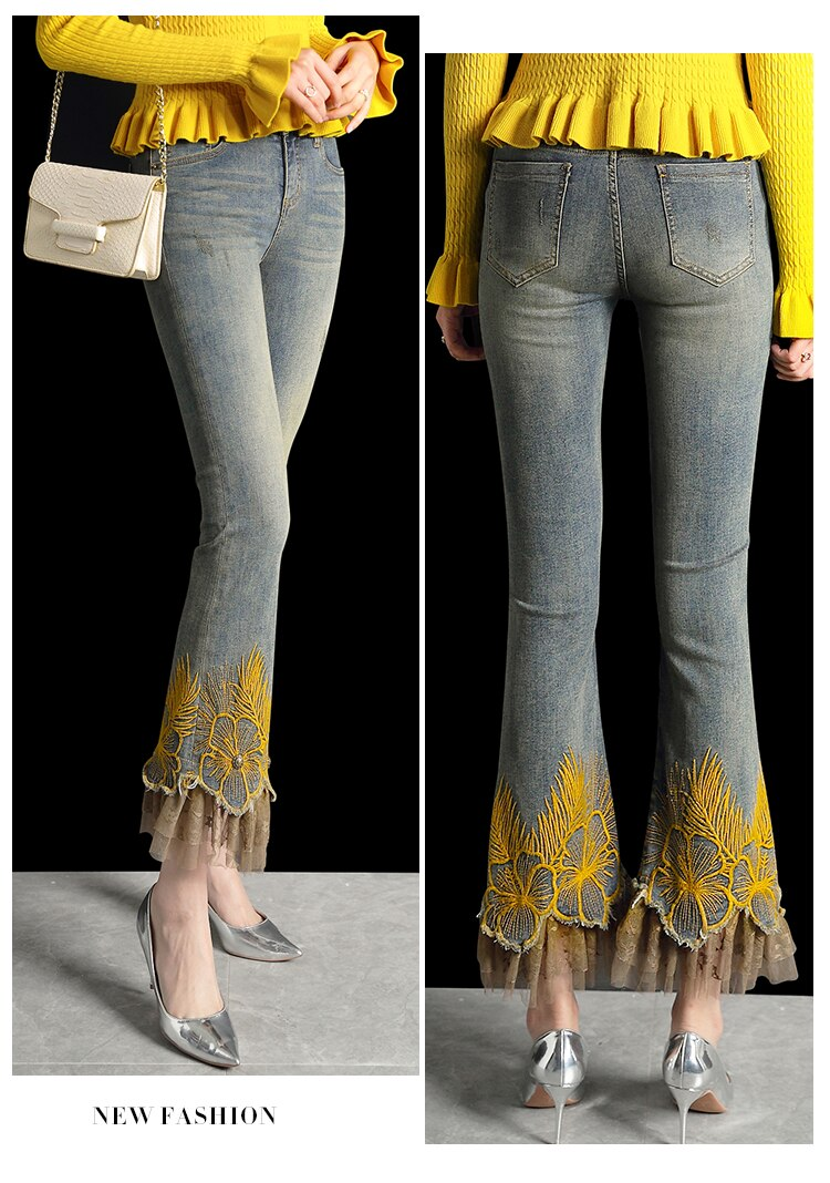 Best Seller New Brand Luxury Lace Embroidery Pants Women Skinny Stretch Jeans Female Casual Slim Fit Trousers Vintage Blue
