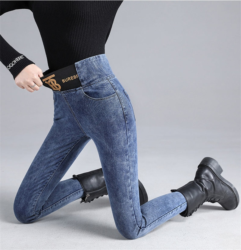 Fashion Stretch Patchwork Mom's Pencil Jeans Casual High Waist Skinny Denim Trousers Women 2021 New Office Lady Leggings Jeans
