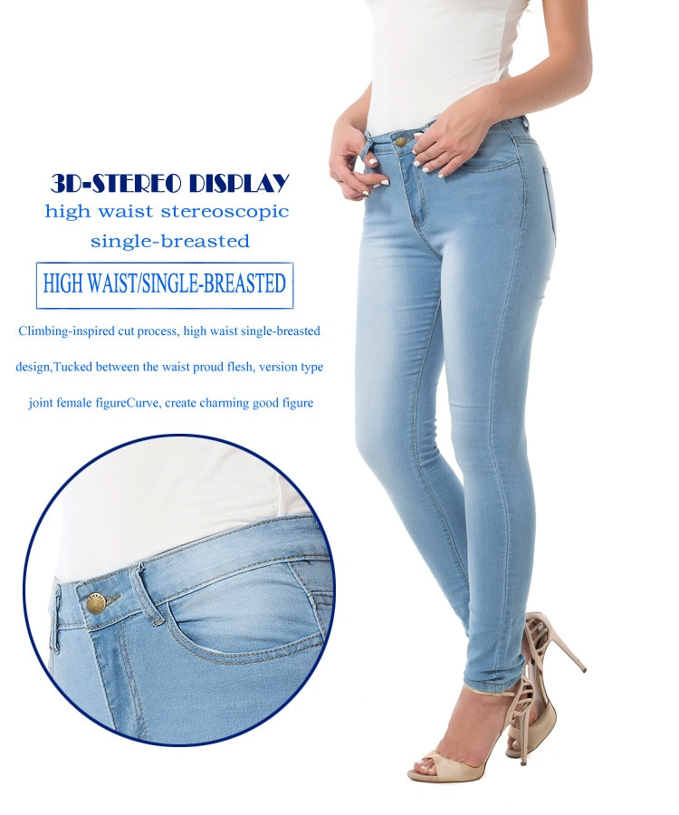 Plus Size 3XL Women's Grinding Elastic Skinny Stretch Jeans High Waist Jeans Washed Casual Denim Pencil Pants Lady Jeans