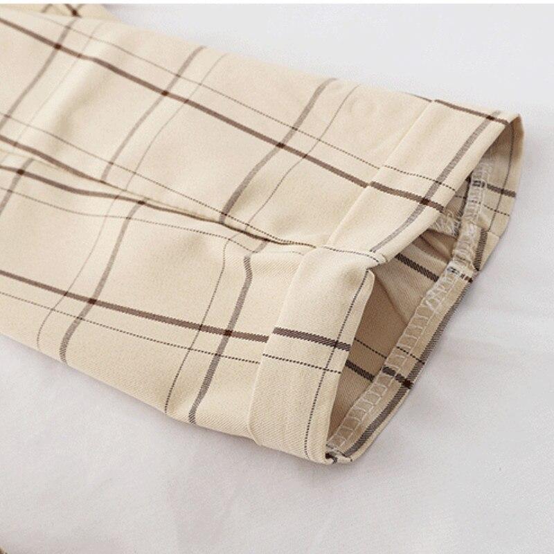 Women Pants Plaid Straight Elastic Pleated Waist Leisure Harajuku Students Retro Loose Ulzzang All-match Korean Style Streetwear
