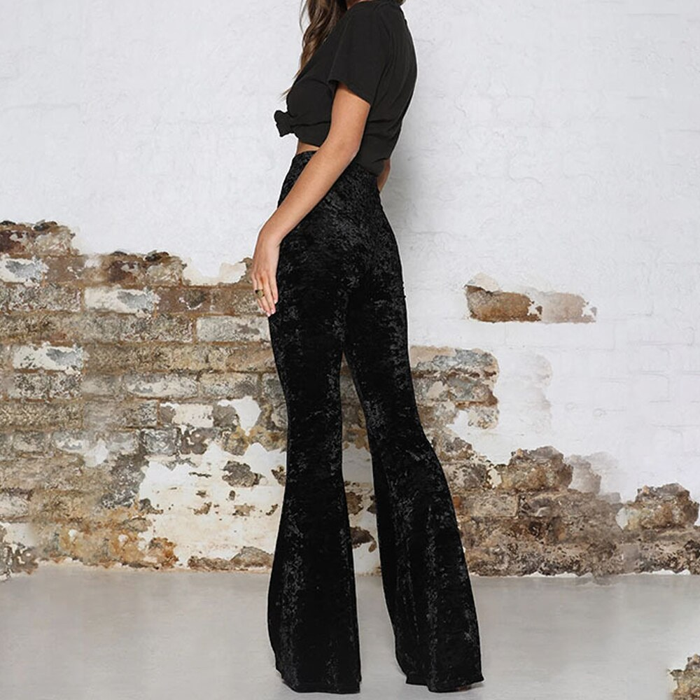 Womens High Waist Gold Velvet Bell Bottom Solid Wine Red Vintage Flare Long Pant Ladies Stretch Wide Leg Pants Trousers