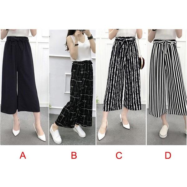 2020 Womens Wide Leg High Waist Casual Summer Thin Pants Loose Culottes Trousers BFJ55