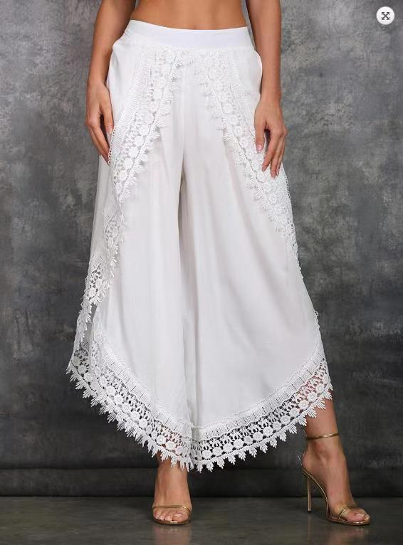 Fashion Women Pants Wide leg Lace Trim Tie-dye Losse Ladies Trousers Hippie Boho Women Capris Harem Pants ropa de mujer 5XL