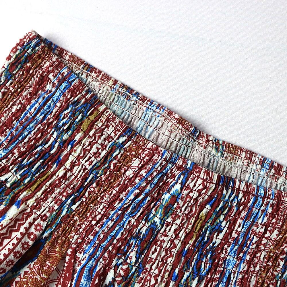 Women Tribal Print Shirred Waist Boho Print Wide Leg Pants Ladies Summer Loose Trousers Holiday Beach Ropa Mujer 2021 New
