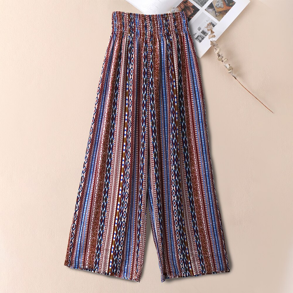 Women Tribal Print Shirred Waist Boho Print Wide Leg Pants Ladies Summer Loose Trousers Holiday Beach Ropa Mujer 2021 New