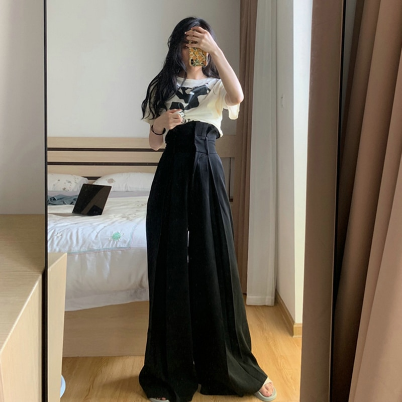 GALCAUR White Full Length Trousers For Women High Waist Loose Plus Size Pleated Ruffles Wide Leg Pants Female 2020 New Clothing
