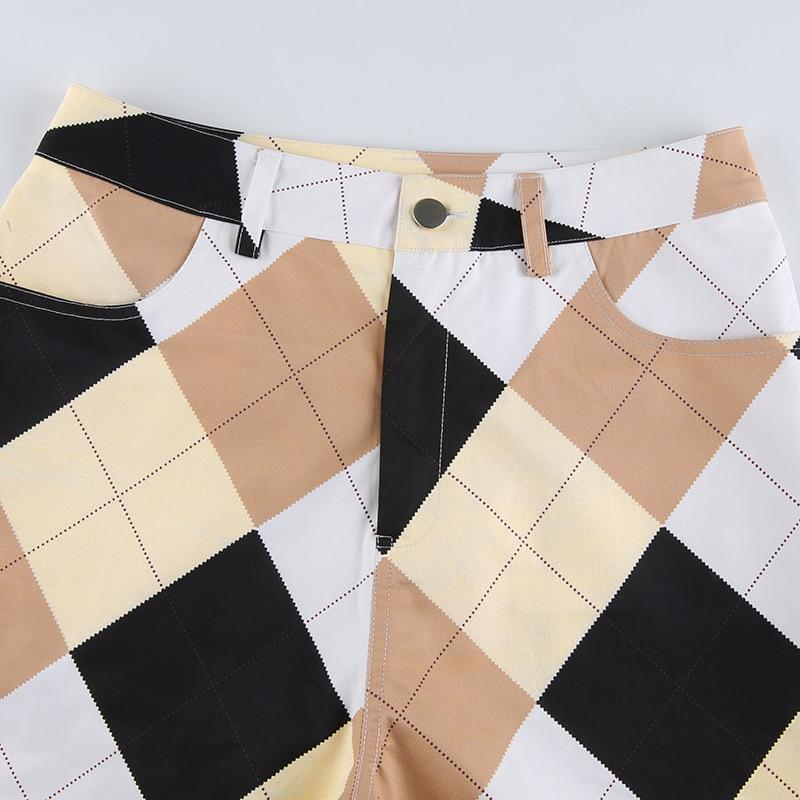 Sweetown Plaid Multi Color Block Cargo Pants Women Vintage 90s Baggy Joggers Women Streetwear High Waist Straight Y2K Trousers