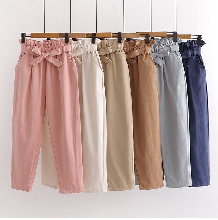TIGENA Cute Bow Belt Pants For Women 2021 Spring Summer Ankle Length High Waist Trousers Women Korean Pink Harem Pants Female