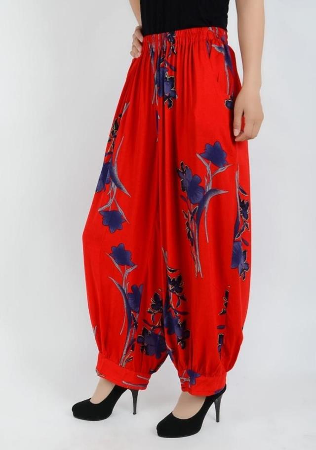 Large size cotton national wind flower pants long pants loose straight jeans pantyhose mother dress bloomers female thin section