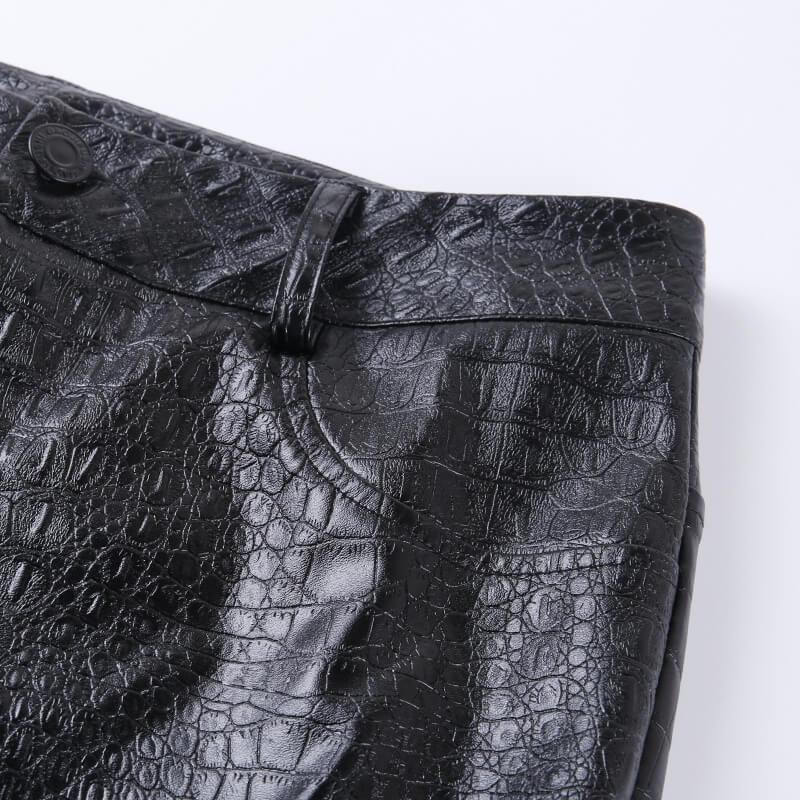 WannaThis Black Pu Pants Hight Waist Pencil Faux Leather Women Casual Carving Print Ankle Length Slim Women Trousers Steetwear