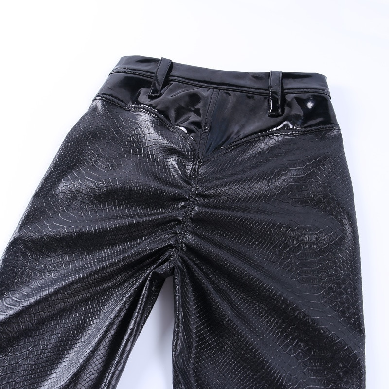SLHJC Women Leather Leggings Waist X Elastic Trousers Pocket Hip Push Up Sexy Female Casual Party Club Pencil Pants Bubble Butt
